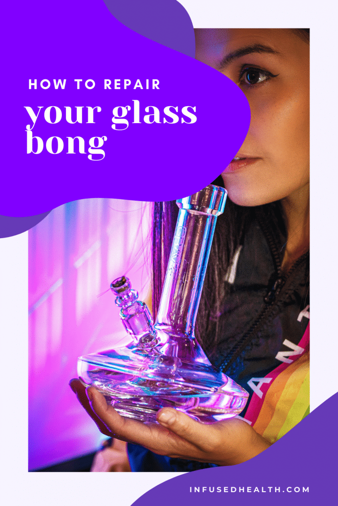 woman holding favorite glass bong water pipe