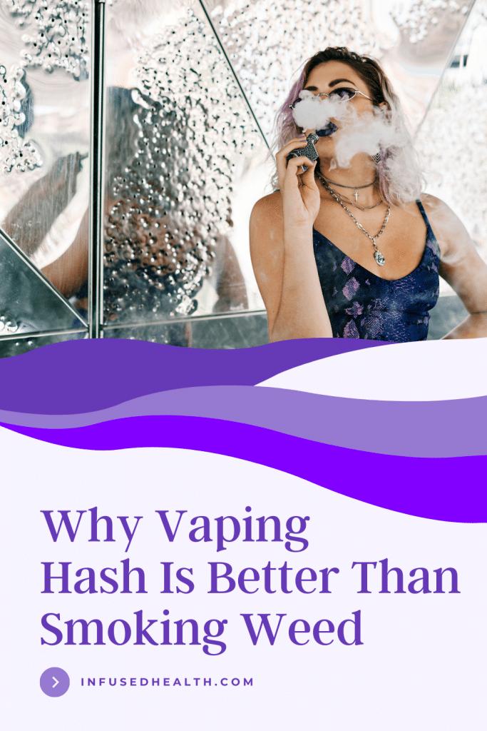 young woman vaping marijuana hash next to mirror wall